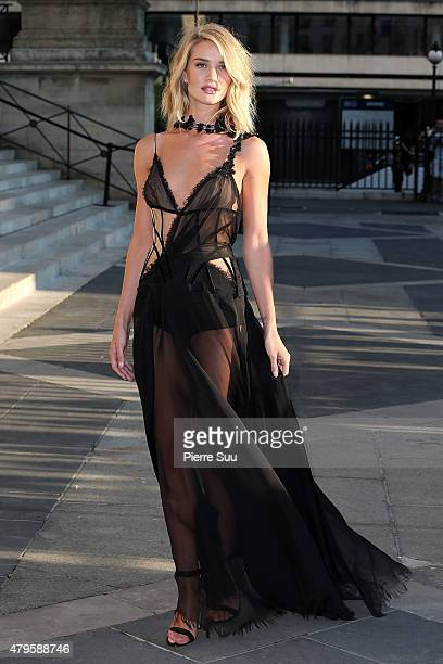 Rosie HuntingtonWhiteley attends the Atelier Versace show as part of Paris Fashion Week Haute Couture Fall/Winter 2015/2016 on July 5 2015 in Paris...