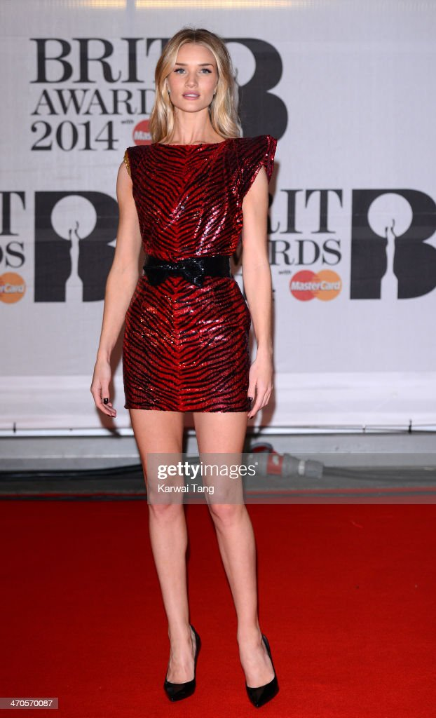 Rosie Huntington-Whiteley attends The BRIT Awards 2014 at 02 Arena on February 19, 2014 in London, England.