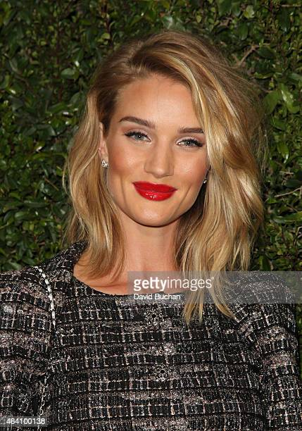 Rosie HuntingtonWhiteley attends the Chanel and Charles Finch PreOscar Dinner at Madeo Restaurant on February 21 2015 in Los Angeles California