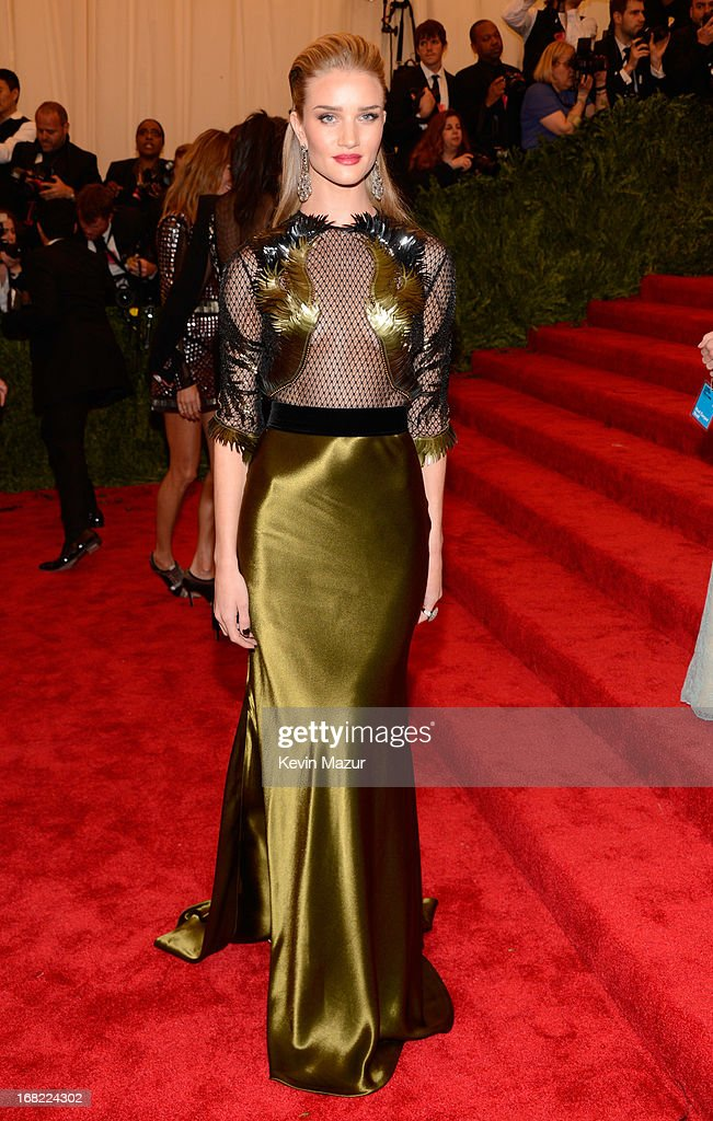Rosie Huntington-Whiteley attends the Costume Institute Gala for the 'PUNK: Chaos to Couture' exhibition at the Metropolitan Museum of Art on May 6, 2013 in New York City.