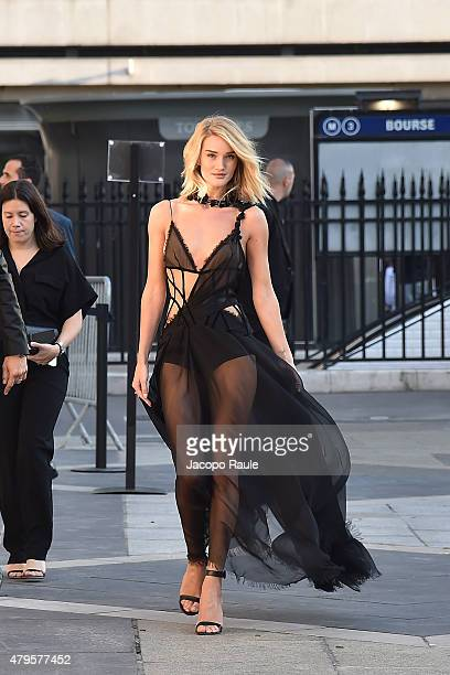 Rosie HuntingtonWhiteley is seen arriving at Versace fashin show during Paris Fashion Week Haute Couture Fall/Winter 15/16 Day One on July 5 2015 in...