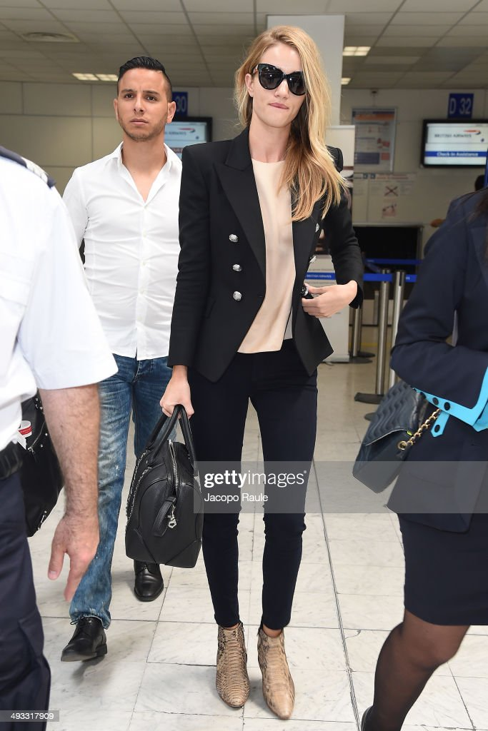 Rosie Huntington-Whiteley is seen arriving in Nice for the 67th Annual Cannes Film Festival on May 23, 2014 in Nice, France.