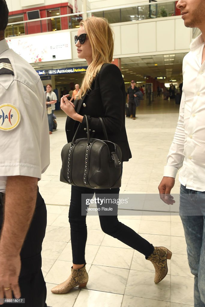 <a gi-track='captionPersonalityLinkClicked' href=/galleries/search?phrase=Rosie+Huntington-Whiteley&family=editorial&specificpeople=2244343 ng-click='$event.stopPropagation()'>Rosie Huntington-Whiteley</a> is seen arriving in Nice for the 67th Annual Cannes Film Festival on May 23, 2014 in Nice, France.