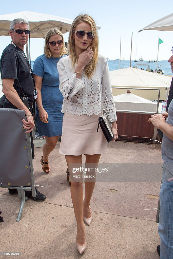 Rosie HuntingtonWhiteley is seen leaving the 'Plage du Martinez' during the 66th Annual Cannes Film Festival on May 22 2013 in Cannes France