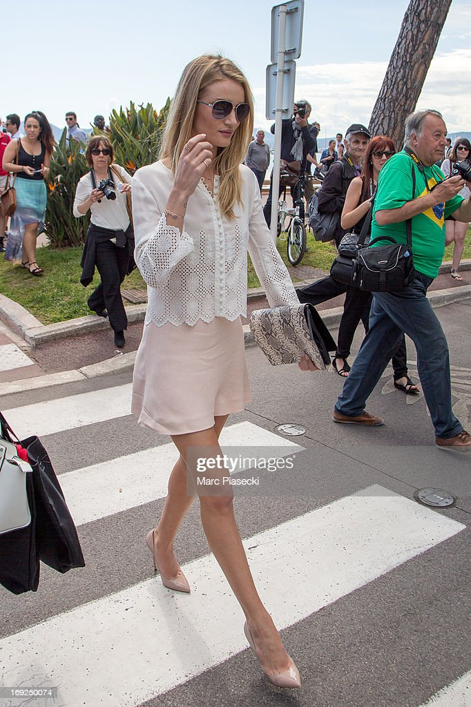 Rosie Huntington-Whiteley is seen leaving the 'Plage du Martinez' during the 66th Annual Cannes Film Festival on May 22, 2013 in Cannes, France.
