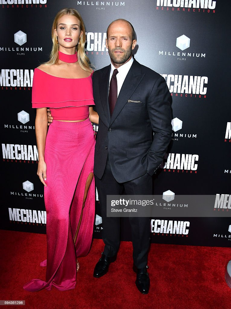 Rosie HuntingtonWhiteley Jason Statham arrives at the Premiere Of Summit Entertainment's 'Mechanic Resurrection' at ArcLight Hollywood on August 22...