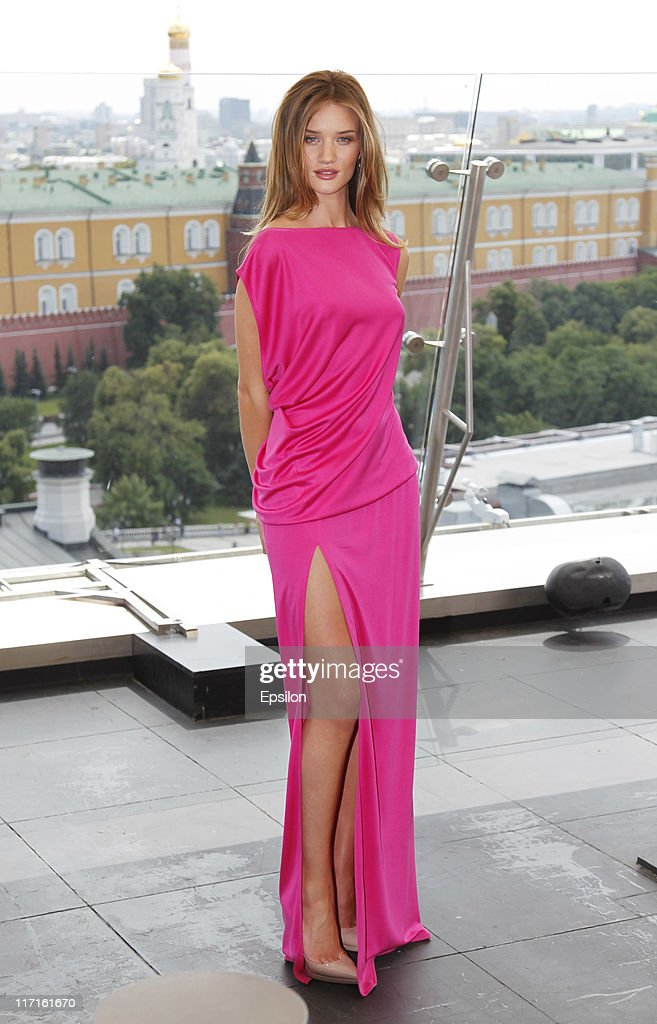 Rosie Huntington-Whiteley poses for a photocall before global premiere of 'Transformers 3' movie on the roof of the Ritz hotel on June 23, 2011 in Moscow, Russia.
