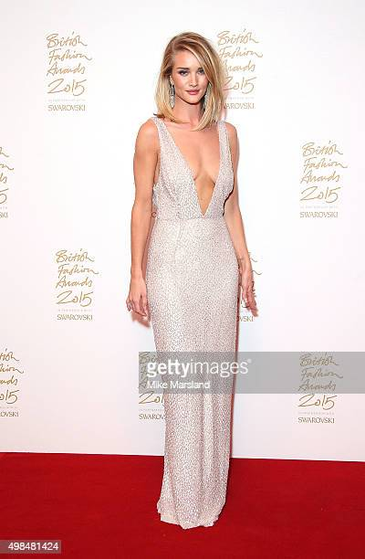 Rosie HuntingtonWhiteley poses in the Winners Room at the British Fashion Awards 2015 at London Coliseum on November 23 2015 in London England
