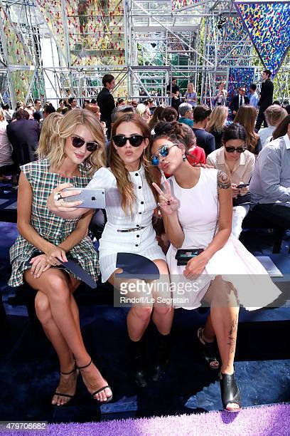 Rosie HuntingtonWhiteley Riley Keough and guest attend the Christian Dior show as part of Paris Fashion Week Haute Couture Fall/Winter 2015/2016 on...