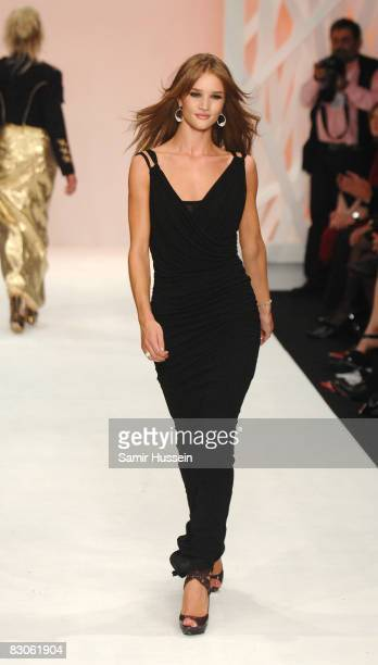 Rosie HuntingtonWhiteley walks the catwalk at the Fashion For Relief show during London Fashion Week Spring/Summer 2009 on September 17 2008 in...