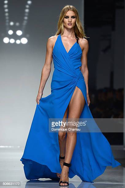Rosie HuntingtonWhiteley walks the runway during the Versace Haute Couture Spring Summer 2016 show as part of Paris Fashion Week on January 24 2016...