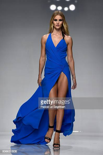 Rosie HuntingtonWhiteley walks the runway during the Versace Spring Summer 2016 show as part of Paris Fashion Week on January 24 2016 in Paris France