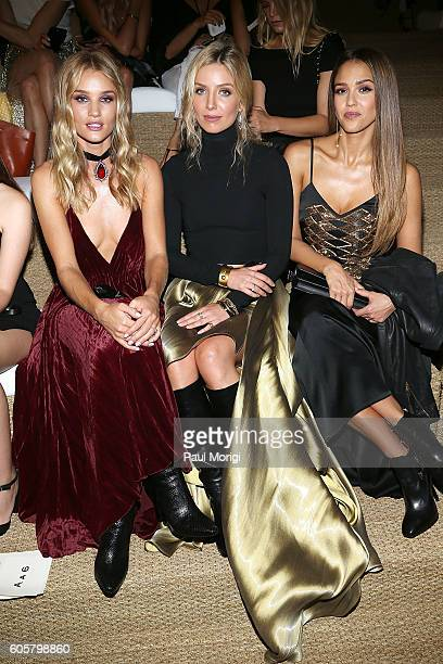 Rosie HuntingtonWhitely Annabelle Wallis and Jessica Alba attend the Ralph Lauren fashion show during New York Fashion Week September 2016 at the...