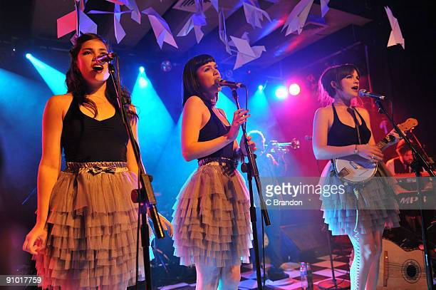 Rosie Langley Edie Langley and Gita Harcourt of the Langley Sisters perform on stage as the support act for Paloma Faith at the Scala on September 17...