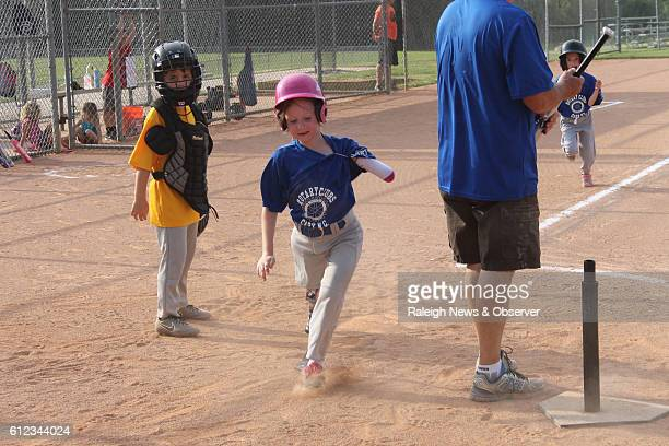 Rosie McRackan runs to home base at a Tball game this summer Rosie is missing her left forearm and entire right leg Last year she joined the Bluejays...