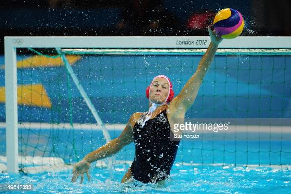 Rosie Morris of Great Britain stretches for the ball during the Women's Water Polo Preliminary match between Great Britain and Russia on Day 3 of the...