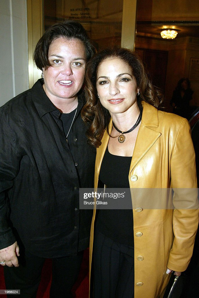 Rosie O'Donnell (L) and Gloria Estefan arrive at the opening night of 'Gypsy' on Broadway at The Shubert Theatre May 1, 2003 in New York City.