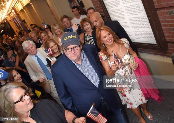 Rosie O'Donnell awardwinning filmmaker Michael Moore and Marlo Thomas celebrate his Broadway Opening Night in 'The Terms of My Surrender' at Belasco...