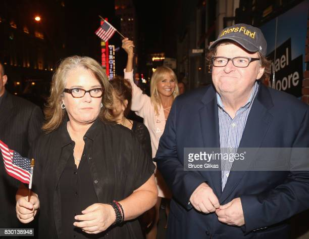 Rosie O'Donnell Christie Brinkley and Michael Moore walk in a parade of celebration to the opening night party for 'Michael Moore 'The Terms Of My...