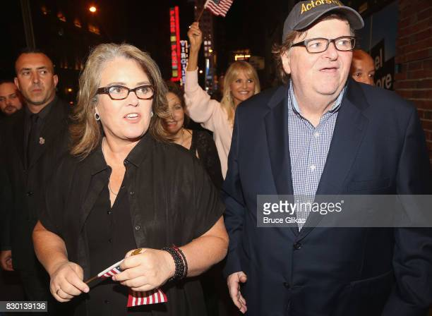 Rosie O'Donnell Kathy Najimy Christie Brinkley and Michael Moore walk in a parade of celebration to the opening night party for 'Michael Moore 'The...