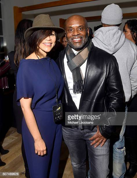 Rosie Perez and LA Reid attend Art For Social Justice Usher Raymond IV Daniel Arhsam and TIDAL debut Chains at Urban Zen on January 29 2016 in New...
