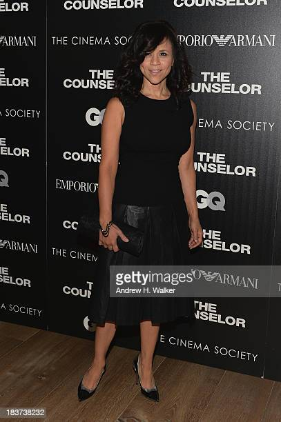 Rosie Perez attends Emporio Armani With GQ And The Cinema Society Host A Screening Of 'The Counselor' at Crosby Street Hotel on October 9 2013 in New...