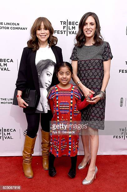 Rosie Perez Sophie Cruz and Paola Mendoza attend the Tribeca Talks After The Movie 'Free Like The Birds' Immigration Panel at SVA Theatre 2 on April...