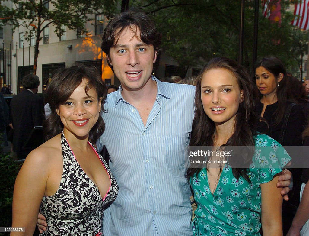 Rosie Perez, Zach Braff and Natalie Portman during IFP/New York and InStyle Host Drive-In Movies at Rockefeller Center at Rockefeller Center in New York City, New York, United States.