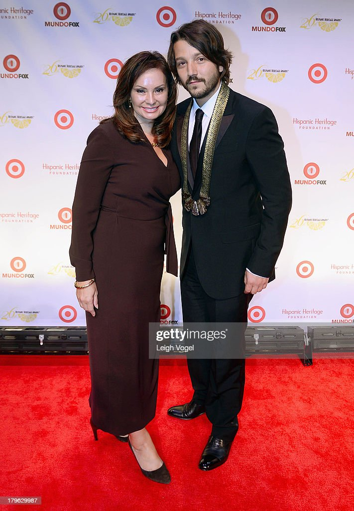 Rosie Rios, Treasurer of the United States, and actor/director/producer <a gi-track='captionPersonalityLinkClicked' href=/galleries/search?phrase=Diego+Luna&family=editorial&specificpeople=213511 ng-click='$event.stopPropagation()'>Diego Luna</a> who received the Inspira Award, attend the 26th Annual Hispanic Heritage Awards presented by Target at the John F. Kennedy Center for the Performing Arts on September 5, 2013 in Washington, DC.