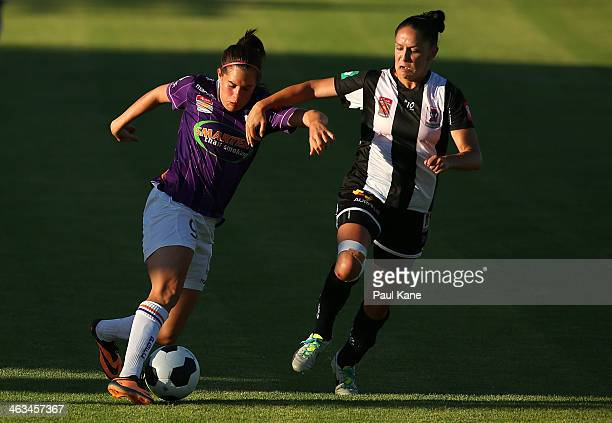 Rosie Sutton of the Glory and Ciara McCormack of the Jets contest for the ball during the round nine WLeague match between the Perth Glory and the...