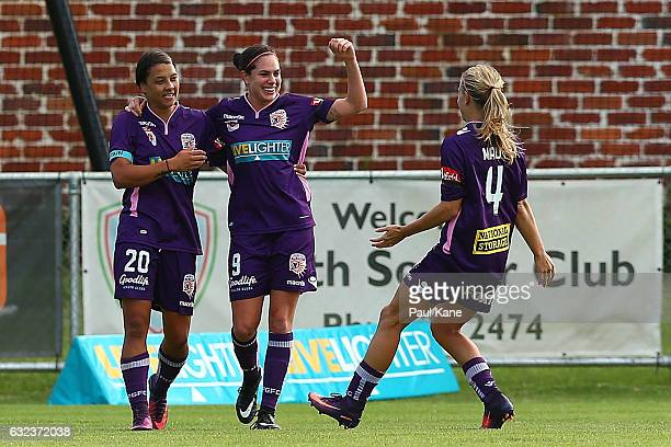 Rosie Sutton of the Glory celebrates a goal during the round 13 WLeague match between Perth Glory and Adelaide United at Dorrien Gardens on January...