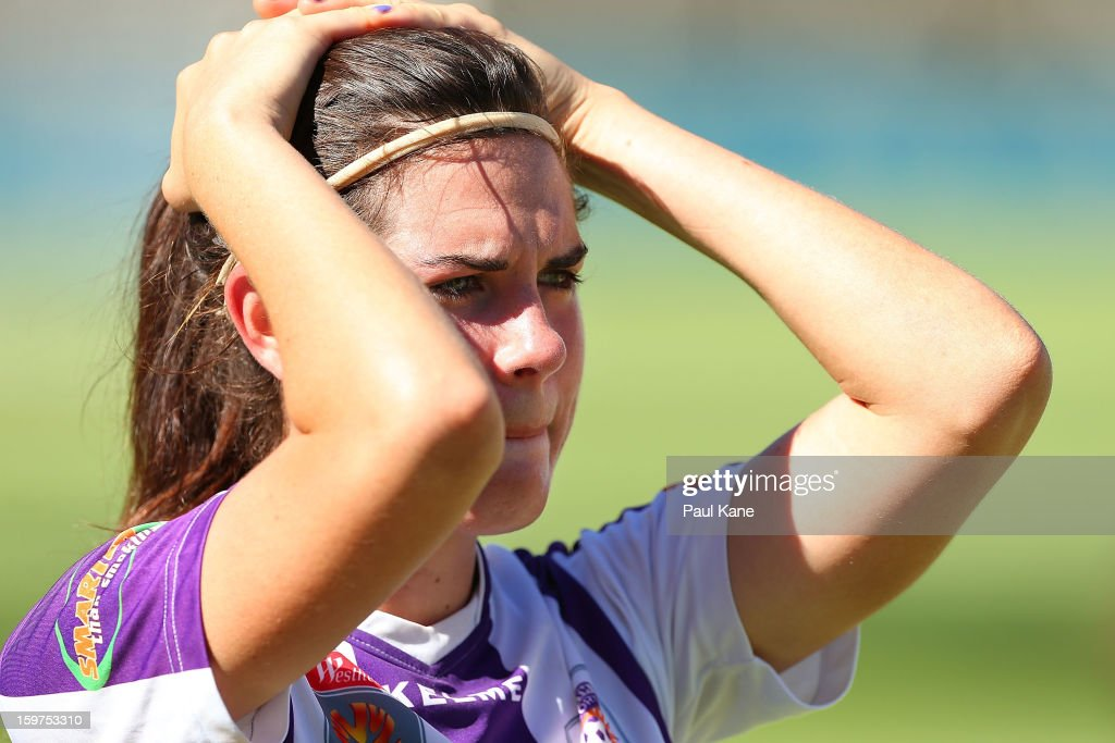Rosie Sutton of the Glory looks on after being defeated during the W-League Semi Final match between Perth Glory and Melbourne Victory at nib Stadium on January 20, 2013 in Perth, Australia.