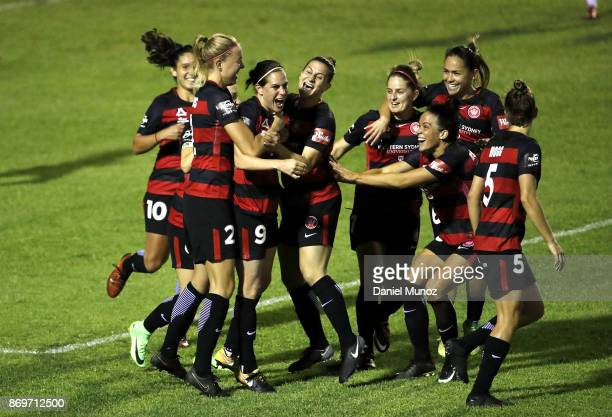 Rosie Sutton of the Wanderers celebrates with teammates after scoring during the round two WLeague match between the Western Wanderers and Adelaide...