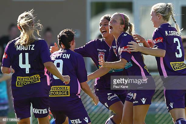 Rosie Sutton Samantha Kerr and Nicole Stanton of the Glory celebrate a goal during the round 11 WLeague match between the Perth Glory and Melbourne...