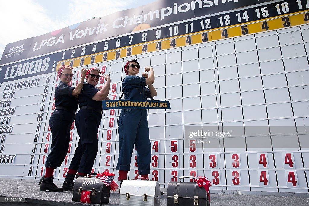 Rosie the Riveter representing the American women workers help out on the scoreboard during the third round of the LPGA Volvik Championship on May 28, 2016 at Travis Pointe Country Club Ann Arbor, Michigan.