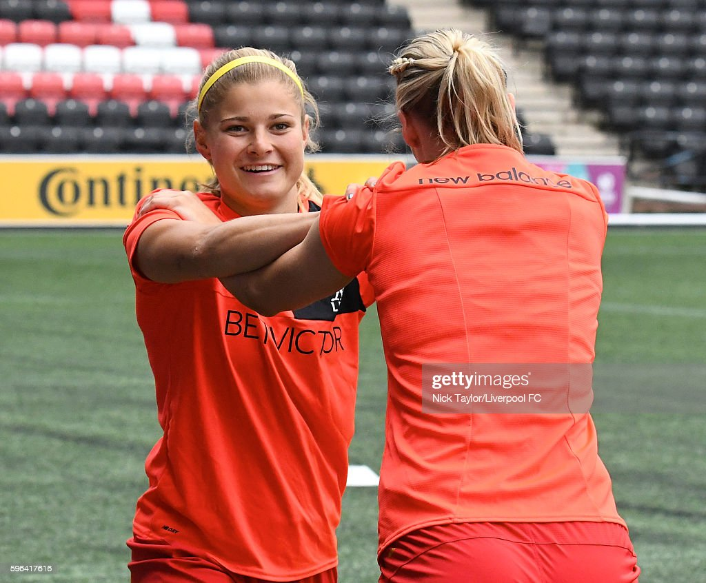Rosie White and Gemma Bonner of Liverpool Ladies during the warmup before the Liverpool Ladies v Doncaster Rovers Belles WSL 1 match on August 27...