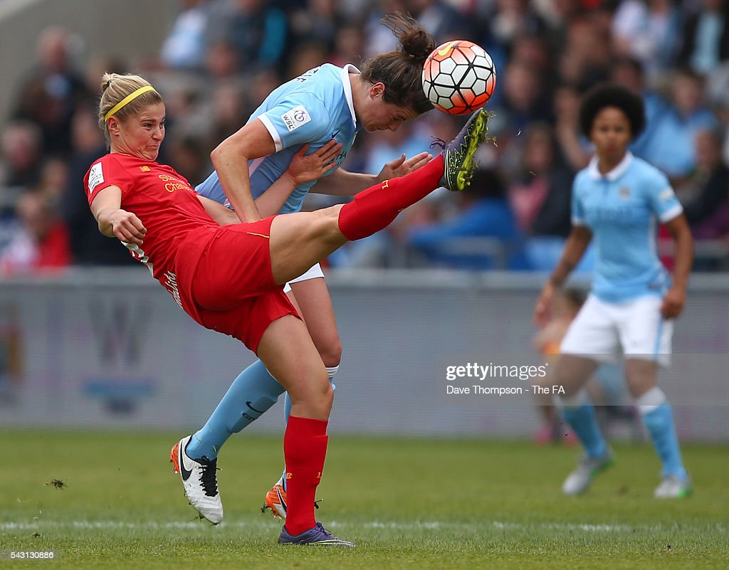 <a gi-track='captionPersonalityLinkClicked' href=/galleries/search?phrase=Rosie+White&family=editorial&specificpeople=4472153 ng-click='$event.stopPropagation()'>Rosie White</a> of Liverpool Ladies and Jennifer Beattie of Manchester City Women during the FA WSL match between Manchester City Women and Liverpool Ladies FC on June 26, 2016 in Manchester, England.