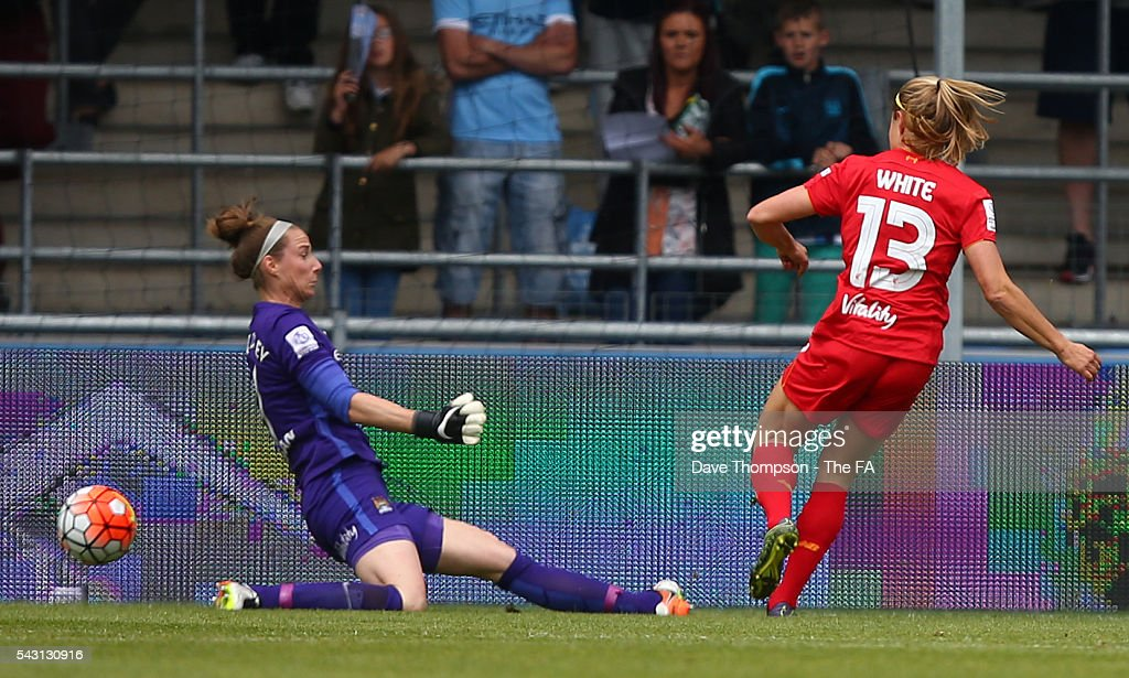 <a gi-track='captionPersonalityLinkClicked' href=/galleries/search?phrase=Rosie+White&family=editorial&specificpeople=4472153 ng-click='$event.stopPropagation()'>Rosie White</a> of Liverpool Ladies scores past <a gi-track='captionPersonalityLinkClicked' href=/galleries/search?phrase=Karen+Bardsley&family=editorial&specificpeople=5988222 ng-click='$event.stopPropagation()'>Karen Bardsley</a> of Manchester City Women during the FA WSL match between Manchester City Women and Liverpool Ladies FC on June 26, 2016 in Manchester, England.