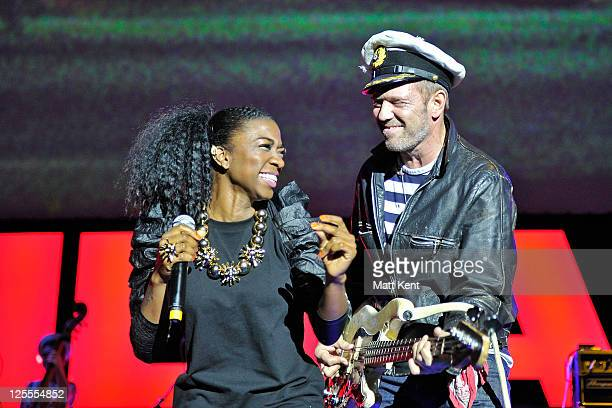 Rosie Wilson and Paul Simonon of Gorillaz performs at the O2 Arena on November 14 2010 in London England