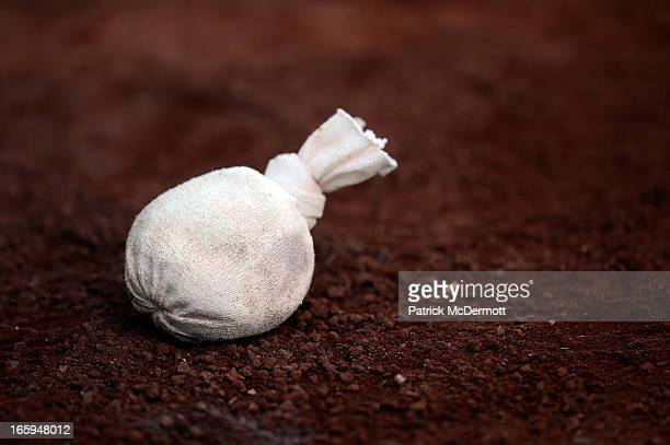 A rosin bag sits on the ground during batting practice before a game between the Miami Marlins and Washingotn Nationals at Nationals Park on April 3...