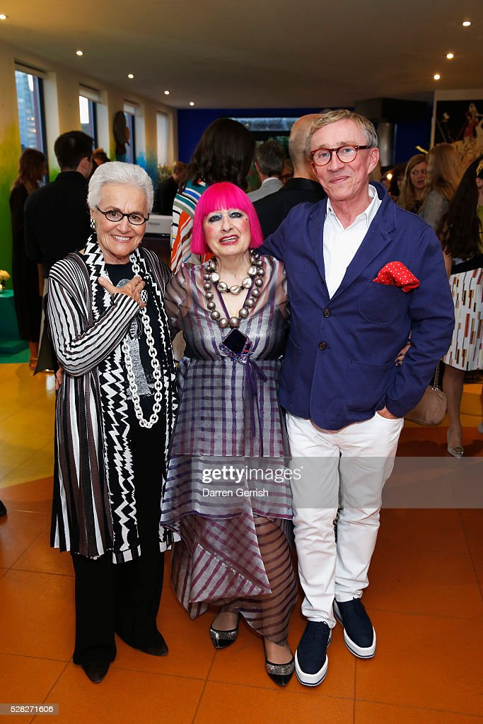Rosita Missoni, Zabdra Rhodes and Jasper Conran attend the Missoni Art Colour preview in partnership with The Woolmark Company at The Fashion and Textile Museum on May 4, 2016 in London, England.