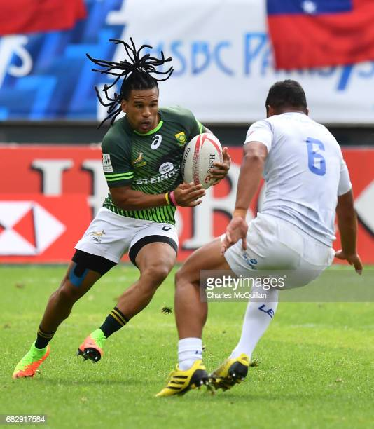 Rosko Specman of South Africa and Alamanda Motuga of Samoa during the quarter final game between Samoa and South Africa as the HSBC World Rugby...