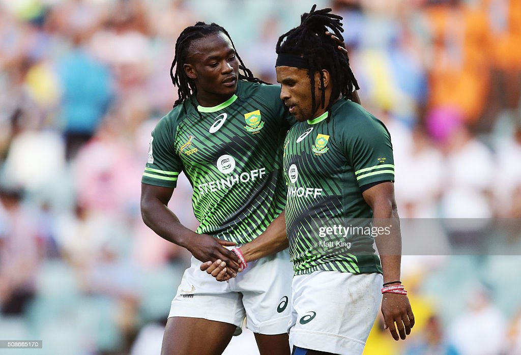 Rosko Specman of South Africa (R) celebrates with Seabelo Senatla of South Africa (L) after scoring a try during the 2016 Sydney Sevens match between South Africa and Kenya at Allianz Stadium on February 6, 2016 in Sydney, Australia.