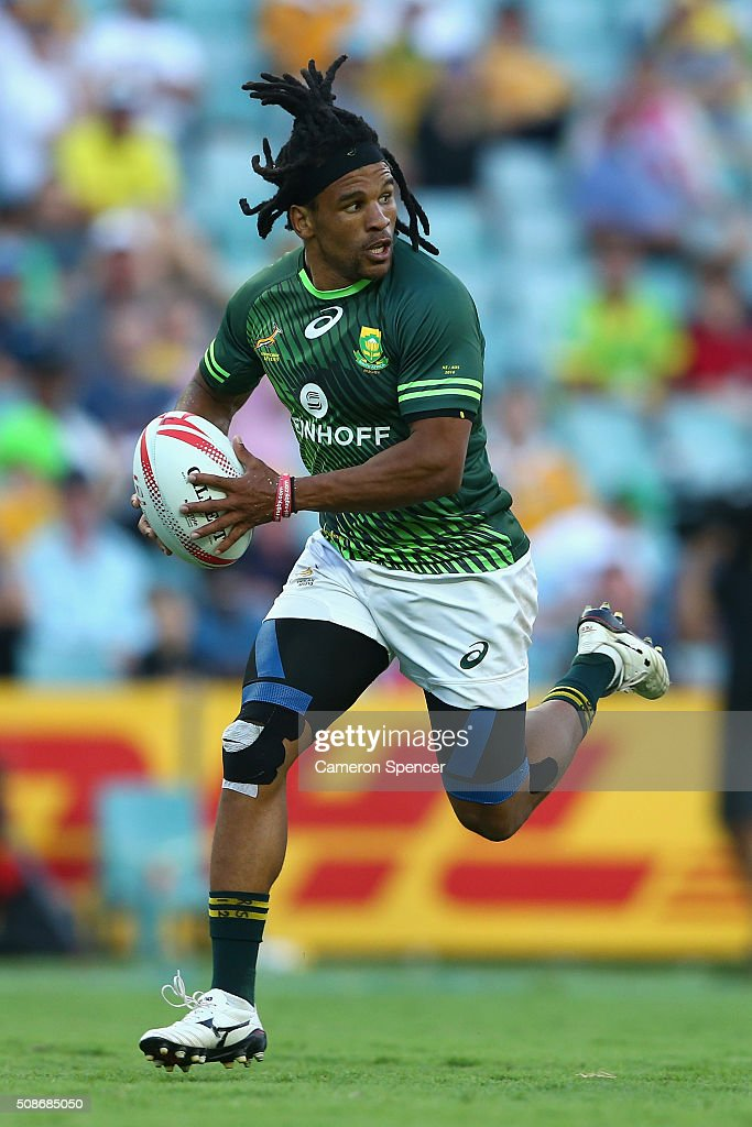 Rosko Specman of South Africa heads for the tryline during the 20146 Sydney Sevens match between Kenya and South Africa at Allianz Stadium on February 6, 2016 in Sydney, Australia.