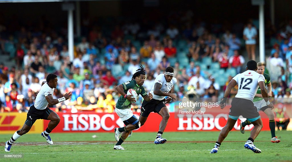 Rosko Specman of South Africa in action during the 2016 Sydney Sevens match between South Africa and Fiji at Allianz Stadium on February 7, 2016 in Sydney, Australia.