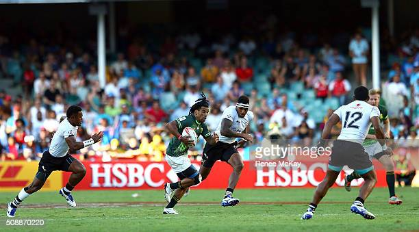 Rosko Specman of South Africa in action during the 2016 Sydney Sevens match between South Africa and Fiji at Allianz Stadium on February 7 2016 in...