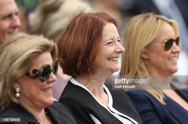 Roslyn Packer Australian Prime Minister Julia Gillard and Leila Mckinnon smile during the Tony Greig memorial service at Sydney Cricket Ground on...