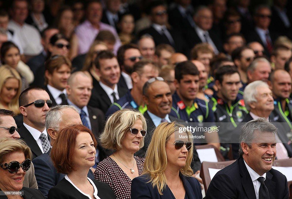 Roslyn Packer, Australian Prime Minister Julia Gillard, Leila Mckinnon and David Gyngel attend the Tony Greig memorial service at Sydney Cricket Ground on January 20, 2013 in Sydney, Australia.