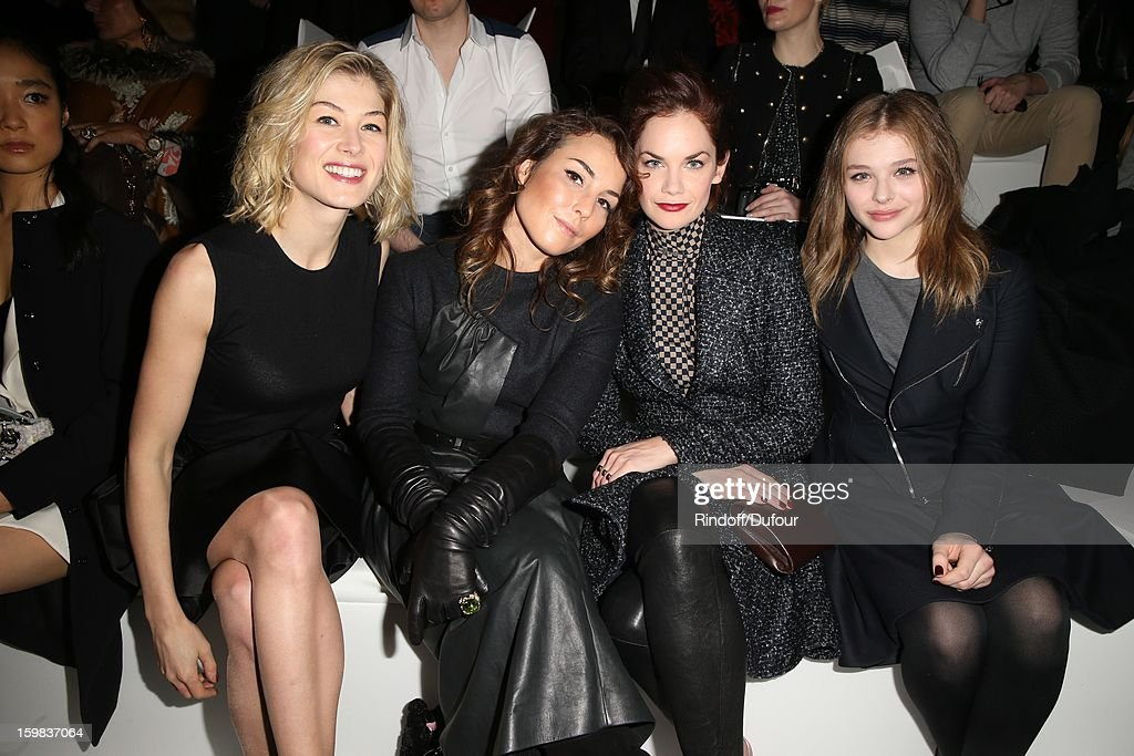 Rosmund Pyke, Noomi Rapace, Ruth Wilson and Chloe Moretz attend the Christian Dior Spring/Summer 2013 Haute-Couture show as part of Paris Fashion Week at on January 21, 2013 in Paris, France.
