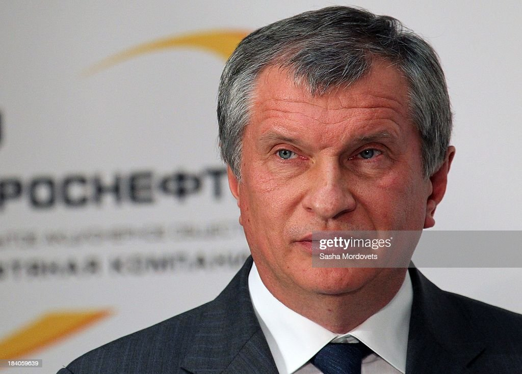 Rosneft oil company President <a gi-track='captionPersonalityLinkClicked' href=/galleries/search?phrase=Igor+Sechin&family=editorial&specificpeople=756791 ng-click='$event.stopPropagation()'>Igor Sechin</a> appears at the Tuapse oil refinery on October 11, 2013 in Tuapse, Russia. Oil refineries date back from the 1920s in Tuapse.